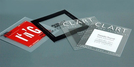 Square transparent business cards