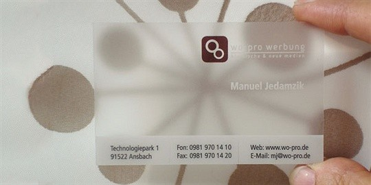 translucent frosted business card