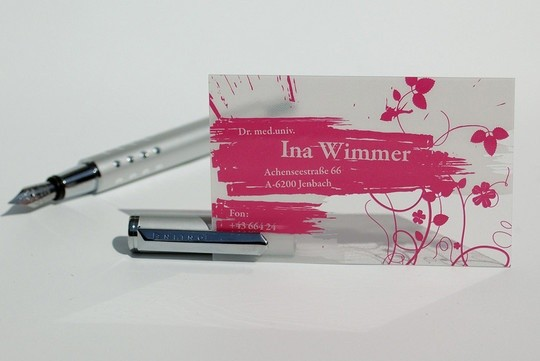 rose color business card