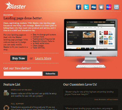 blaster landing page