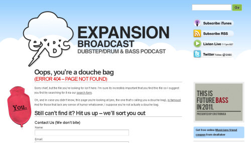 expansionbroadcast 404 error pages