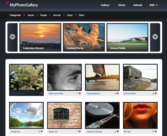 Photo Gallery Website Layout in Photoshop