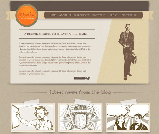 How to Create a Vintage Photoshop Website Layout