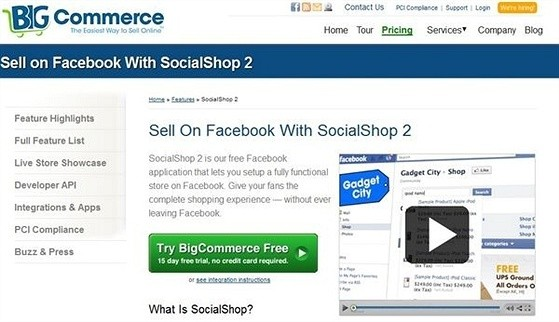 BigCommerce eCommerce Shopping Cart Apps for Facebook