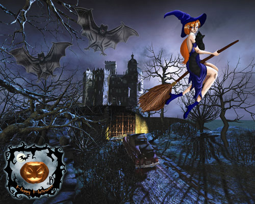Halloween Wallpaper - Bats and Witch