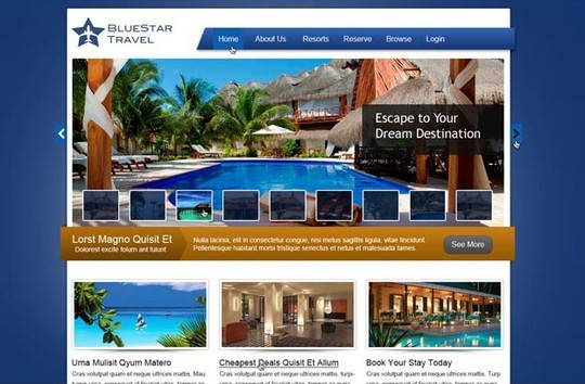bluestar travel - free travel website psd layout