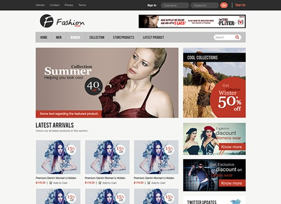 e commerce website interface in photoshop