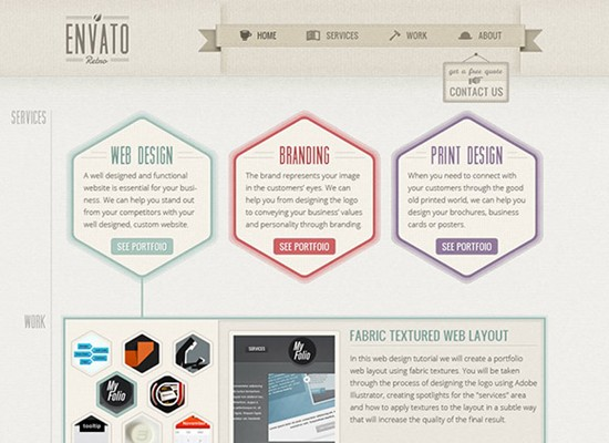 one page retro web design layout in photoshop