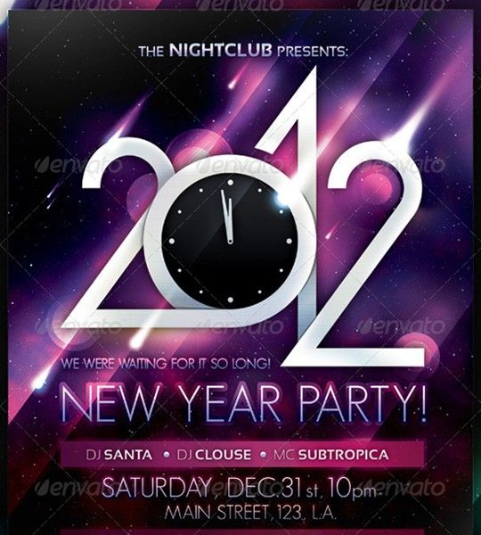 2012 new year party flyer poster