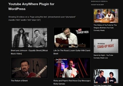 wordpress youtube channel anywhere plugin