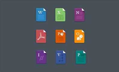 free flat ms office file icons