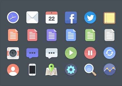 24 flat icons (psd)