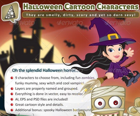 Fun Halloween Cartoon Characters By Louisdavilla