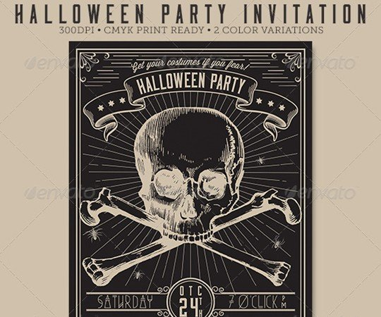 Vintage Halloween Party Flyer / Invitation By Seeseo