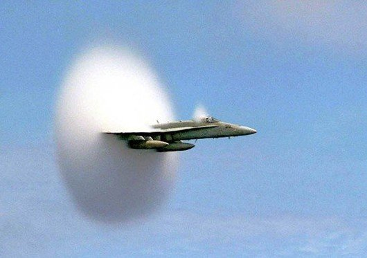 airplane breaking the sound barrier