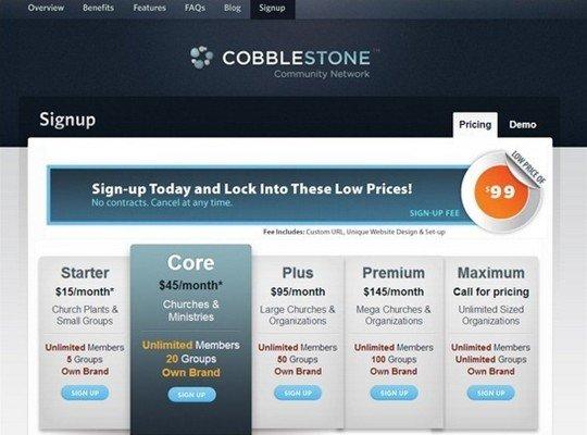 cobblestone - pricing page design