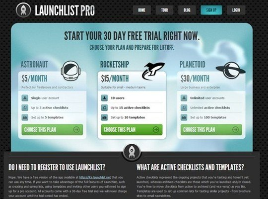 launch list - pricing page design