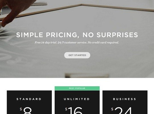 square space - pricing page design