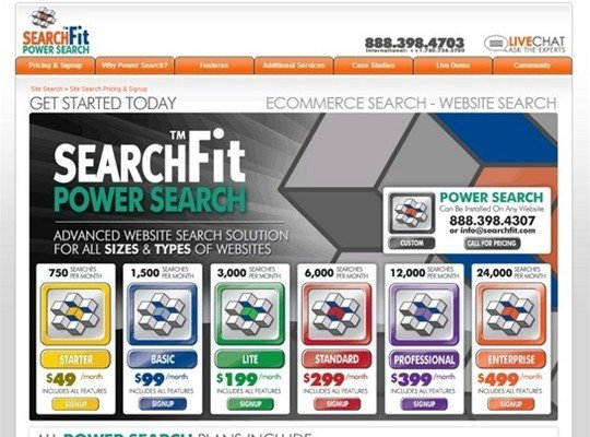 search fit - pricing page design