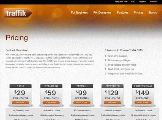 traffik - pricing page design