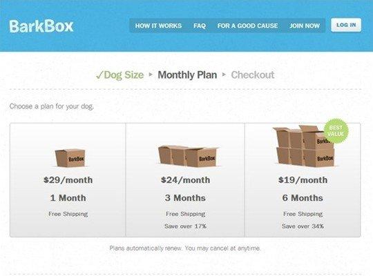 bark box - pricing page design