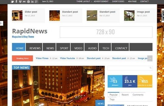 RapidNews – Responsive Bootstrap Magazine Theme