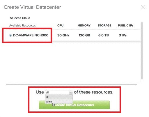 Step 3: Select a Dedicated Cloud Resource To Host the Datacenter