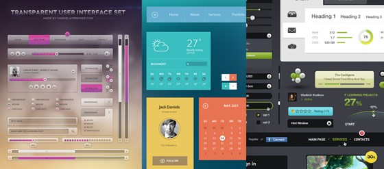 UI Kits - Flat, Modern, Transparent and More