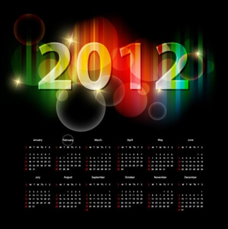 calendar,vector,vectors,glowing,2012,photoshop resources,sparkly vector