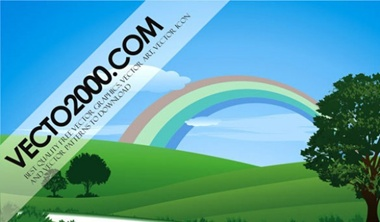 eps,green,leaf,nature,photoshop,tree,landscape,rainbow,grass,mountain,vectors,summer,ecology vector