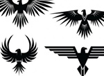 4 Eagle Symbol Tattoo Style Vector Graphics