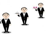 High End Food Service Waiter Vector Set