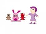 Cartoon Girl With Critter Friends Vector Set
