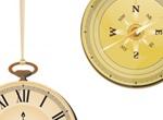 Antique Pocket Watch & Compass Vector