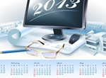 2013 Calendar Blueprint Plans Vector