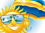 Smiling Sun Tropical Cartoon Vector Illustration