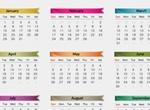 2013 Yearly Colorful Hearts Vector Calendar