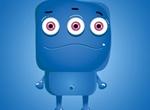 Blue 3 Eyed Monster Vector Cartoon Icon