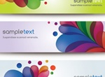 3 Colorful Abstract Leaf Banners