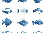 12 Blue Fish Vector Illustrations Set