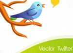 Twitter Bird On Branch Vector