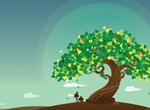 Solitary Wish Tree Vector Illustration