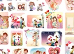 28 Cartoon Love Theme Card Scenes