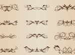 18 Decorative Floral Vector Flourishes Set
