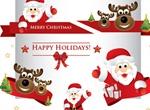 Cartoon Santa Christmas Elements Set