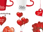 8 Red Valentine's Day Decorator Vector Elements