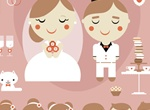 Cartoon Style Wedding Elements Vector Pack