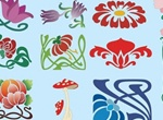 Art Nouveau Flowers Vector Graphics