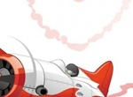 Shiny Red Plane Heart Vector Graphic