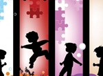 4 Playing Children Silhouette Vector Banners